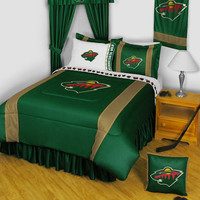 NHL Minnesota Wild Comforter Pillowcase Hockey Bedding: Queen