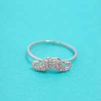 Tiny zircon pave mustache ring in white gold plate