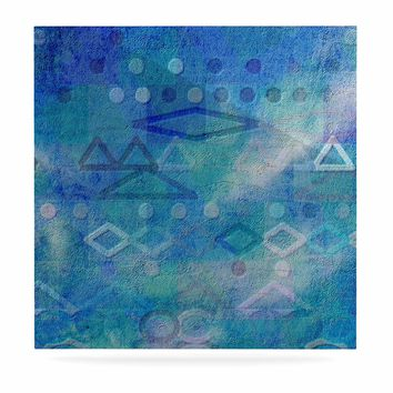 "Mimulux Patricia No ""Hieroglyphic"" Blue Digital Abstract Luxe Square Panel"