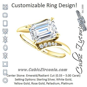 Cubic Zirconia Engagement Ring- The Aina Svanhild (Customizable 11-stone Emerald Cut Design with Bypass Channel Accents)