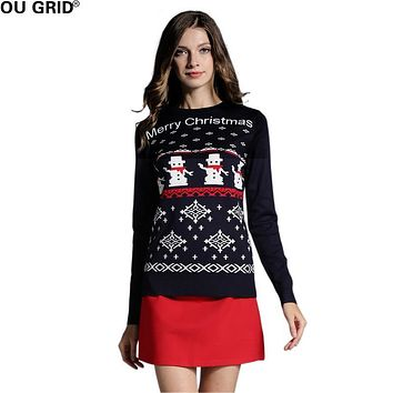 Women's Sweater Pullovers Long Sleeve Cute Girls Reindeer/Snowman Pattern Knit Party Pullover Jumper