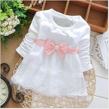 Fashion Autumn Long Sleeve lace Bow cute baby Party Birthday girls kids Children dresses, princess infant Dress S1853