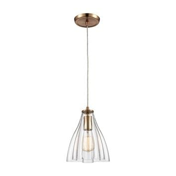 Matilda 1-Light Mini Pendant in Satin Brass with Clear Wavy Glass