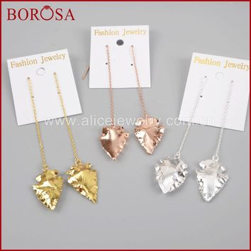 BOROSA Druzy Drop Earrings, Arrowhead Full Gold Color/Silver Color/Rose Gold Color Natural Stone Threads Earrings G1302