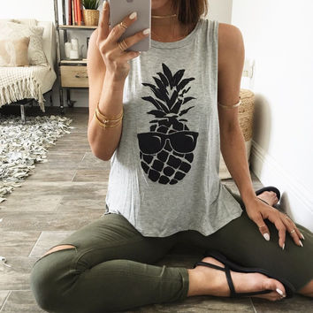 Scoop Sleeveless Pineapple Print Split Casual Vests