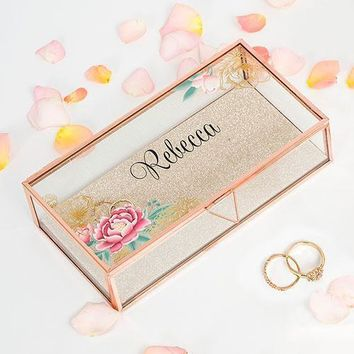 Personalized Glass Jewelry Box - Modern Floral Printing Gold (Pack of 1)
