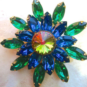 Watermelon Rivoli Green Blue Rhinestone Brooch, Flower Motif, Vintage