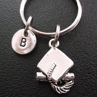Graduation cap charm keyring, keychain, bag charm, purse charm, monogram personalized custom gifts under 10 item No.278