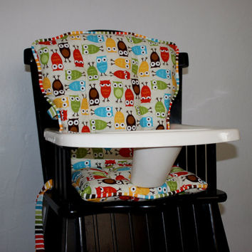 Custom Eddie Bauer Urban Zoologie Bermuda Owls High Chair Pads, High Chair Cover, Highchair Pads, Wooden Highchair Cover, Replacement Pads