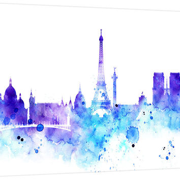 City Wall Art - Watercolor Large Wall Art Print - Paris Art - Paris City Skyline Silhouettes Watercolor Large Canvas Print, Eiffel Tower