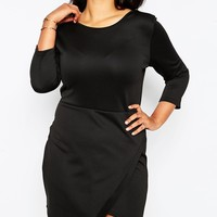 Club L Plus Size Bodycon Dress With Aysemmetric Hem And Long Sleeves at asos.com