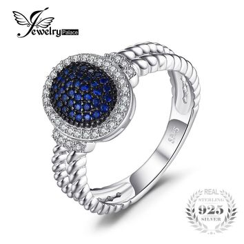 JewelryPalace 0.36ct Created Blue Spinel Cluster Statement Ring 925 Sterling Silver Ring Fine Jewelry for Women