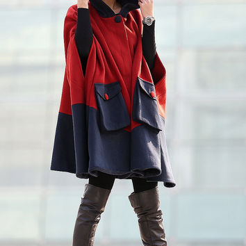 Hooded Winter Cape - Block Color Cashmere Wool Navy Red Warm Cozy Jacket Swing Coat Outerwear for Women C216