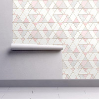 Geometric Wallpaper - Triangles Pink Gray By Crystal Walen - Nursery Custom Printed Removable Self Adhesive Wallpaper Roll by Spoonflower