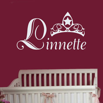 Personalized Name Decal Crown Princess  Girl Decal Nursery Room Wall Decal   Vinyl Sticker Wall Decor Home Interior Design Art Mural U355