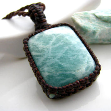 Amazonite Necklace, Amazonite pendant,  Amazonite,  Gemstone Jewelry, Macrame, Green , Bold,  Healing Stones and crystals, Funky,  hippy