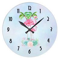 Pink Flamingo Momma & Baby with Palm Trees Large Clock