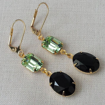 Black and Chrysolite Earrings made with Vintage Swarovski Crystals, Classic Hollywood, Vintage Inspired, Vintage Bride, Vintage Glam, Retro