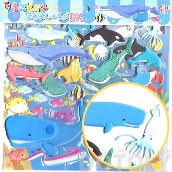 Large Whale Fish Stingray Shark Shaped Aquarium Themed Moveable Puffy Stickers | 2 Sheets