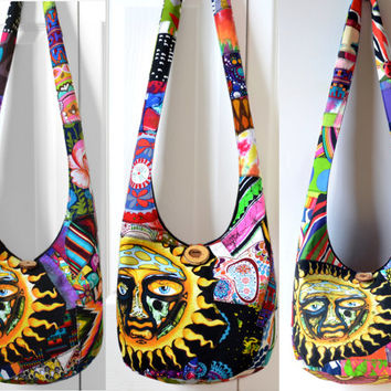 MADE TO ORDER Hobo Bag, Sling Bag, Sublime Sun, Patchwork, Crazy Quilt, Colorful, Hippie Purse, Crossbody Bag