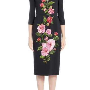 Dolce&Gabbana Placed Rose Print Cady Sheath Dress | Nordstrom