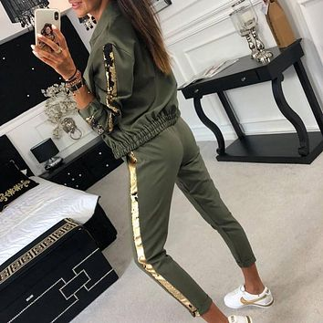 BKLD Sequined Patchwork Long Sleeve Two Piece Outfits Zipper Hoodie Coat And Long Pants Set 2 Piece Sets Autumn Winter Tracksuit