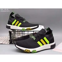 Adidas pedal socks shoes lazy shoes men casual tide shoes cloth shoes F-A36H-MY Black + green line