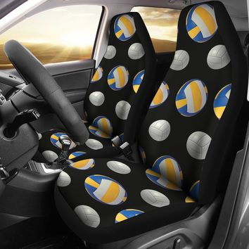 Blue Yellow Volleyball Design Seat Covers