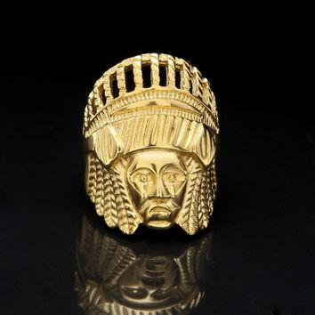 SOXY Gold Indian Chief Ring For Men Stainless Steel Ring