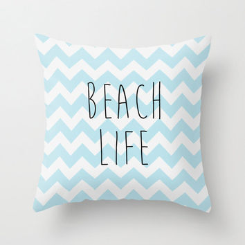 Beach Life THROW PILLOW blue chevron style bedding California los angeles 16x16 typeography pillow COVER Cottage Decor nursery