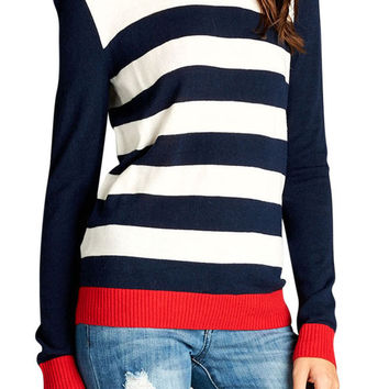 TheLovely Women Crew Neck Long Sleeve Striped Casual Sweater