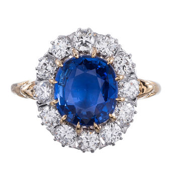 Classic Princess Diana Style Sapphire Diamond Cluster Ring