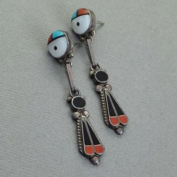 SIGNED Vintage Native American ZUNI Turquoise Earrings Inlay Sunface Sterling Kachina