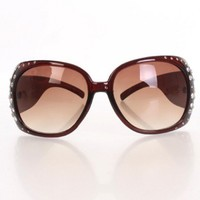 Brown Round Plastic Frame Tinted Lenses Rhinestone Studded Sunglasses