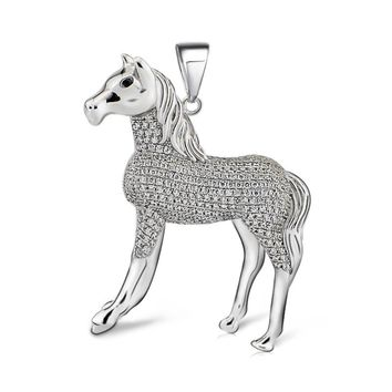 GND0718 High Quality 100% Real 925 Sterling Silver Pendant Luxury Horse Crystal Necklaces Pendants Jwelry For Women Unisex