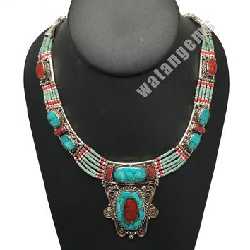 Ethnic Tribal Nepalese tribal Red Coral & Turquoise Inlay Boho Necklace, E231