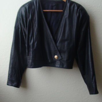 Vintage 80's Gianni Versace Black Leather Short Jacket