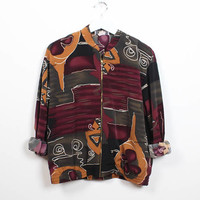 Vintage 90s Bomber Jacket Burgundy Green Gold Abstract Print Windbreaker Jacket 1990s Soft Grunge Track Jacket Mod Sporty M Medium L Large