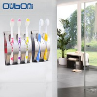 OUBONI New Stainless steel Wall Mount Toothbrush Holder 2,3 Holes Self-adhesive Tooth Brush Organizer Box Bathroom Accessories