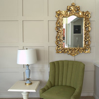 Large Ornate Gold Mirror, Vintage Carved Wood Baroque Gilt Mirror, Rustic Glam Burwood Rectangular Wall Mirror