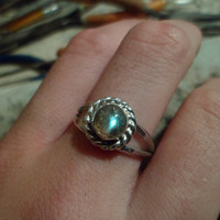 Authentic Navajo Native American Southwestern sterling silver labradorite rings. Made to order.