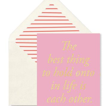 The Best Thing To Hold Pink Greeting Card, Single Folded Card or Boxed Set of 8