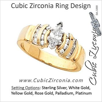 Cubic Zirconia Engagement Ring- The Athena (0.90 Carat Marquise-Cut with Round and Baguette Channel Accents)