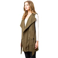Long Cargo Vest w/Hood, Olive (Small M)