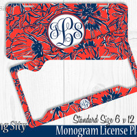 Navy Red Floral Monogram License Plate Frame Holder Metal Wall Sign Tags Personalized Custom Vanity Plate