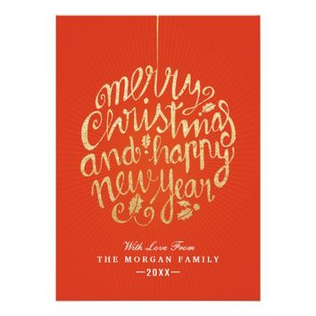 Red & White Christmas Happy New Year Typography Card