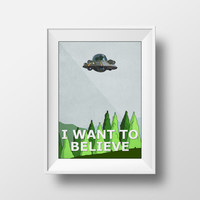Rick and Morty Poster, Movie Poster, I Want To Believe, X-Files, Adult Swim