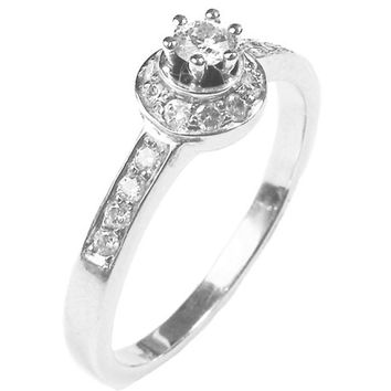Halo Ring, Diamond halo engagement ring,18K White gold, six prongs, Row setting