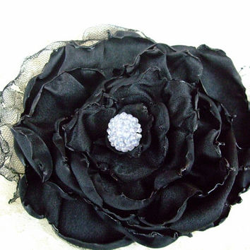 Wedding Hair Flower, Black Flower Accessory, Bridal Sash, Maternity Sash, Bridal Hair Flower