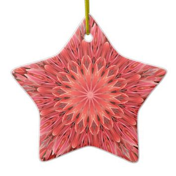 Kaleidoscope Design Floral Red Ceramic Ornament